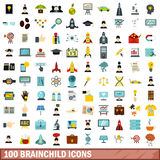100 brainchild icons set, flat style Stock Photo
