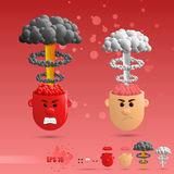 3D set of brain emotions Royalty Free Stock Photo
