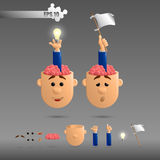 3D set of brain emotions Royalty Free Stock Images