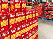 BRAINERD, MN - 30 MAR 2019: Boxes of Cheez It cheese snacks on display at a warehouse retail store stock image