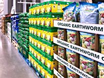 BRAINERD, MN - 31 MAR 2019: Display of bags of Organic Earthworm Castings fertilizer for sale stock photo