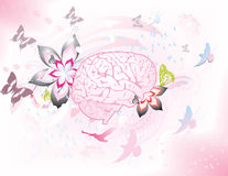 Braingasm. Vector Collage of a brain with whimsical Aspects Royalty Free Illustration