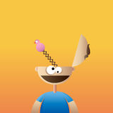 Brainless Crazy Guy. Vector cartoon illustration of brainless, crazy, idiot guy Stock Photo