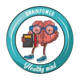 Brainpower healthy emblem label. Brainpower healthy round emblem label cartoons vector illustration graphic design stock illustration