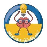 Brainpower healthy emblem label. Brainpower healthy round emblem label cartoons vector illustration graphic design vector illustration