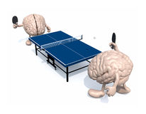 Brains with arms and legs that playing to table tennis Stock Image