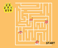 Brains confused in maze. Brains cartoon character vector illustration confused in maze (conceptual image about each person walking in maze to win big money but Stock Images