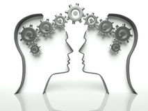 Brains and gears in head, concept of communication Royalty Free Illustration