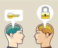 Brains Lock and Key Royalty Free Stock Image