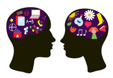 Brains of man and woman - thinking concept Royalty Free Stock Photo