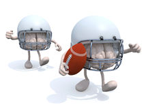 Brains that play rugby. Two human brains with arms, legs, helmets and rugby ball, 3d illustration Stock Photo