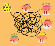 Brains solving tangled line together. Brains cartoon character vector illustration solving a tangled line to get big money conceptual image about people try to Royalty Free Stock Photography