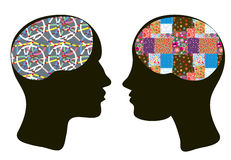 Brains and thinking concept of man and woman Stock Photos