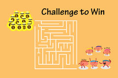 Brains walk to maze to money. Brains cartoon character vector illustration walking to maze to win money (conceptual image about each person walking into maze to Stock Photos
