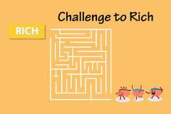 Brains walk to maze to rich. Brains cartoon character vector illustration walking to maze to win rich (conceptual image about each person walking into maze to Stock Photos