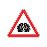 Brains Warning sign red. Think Hazard attention symbol. Danger r Stock Photos