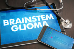 Brainstem glioma (cancer type) diagnosis medical concept on tablet screen with stethoscope.  stock photos