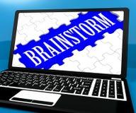 Brainstorm łamigłówka Na notatniku Pokazuje pomysły Dla EBook Fotografia Royalty Free