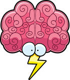 Brainstorm. A cartoon brain brainstorming with a lightning bolt Royalty Free Stock Photos