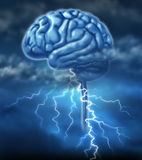 Brainstorm. And ing inspiration concept with a brain and a lightning storm as a symbol of creativity and the creative power of human ideas and creation of stock illustration