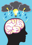 Brainstorm. An illustration of a a person brainstorming, with storm clouds, rain and lightning with a bright bulb illuminating Stock Images
