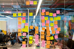 Brainstorm board post it Stock Photos