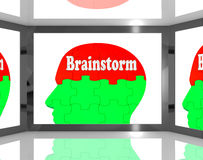 Brainstorm On Brain On Screen Showing Group Of Words Stock Photography