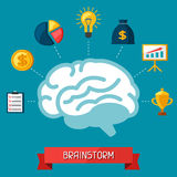 Brainstorm business and finance concept flat. Illustration Royalty Free Stock Photos