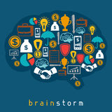 Brainstorm business and finance concept flat. Illustration Royalty Free Stock Photo