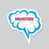 Brainstorm -  business logo concept illustration. Speech bubble sticker. Creative idea generation symbol. Human brain. Stock Image