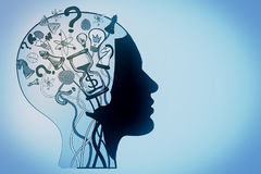 Brainstorm concept. Abstract head outline wutg creative sketch on light background. Brainstorm concept Stock Photography