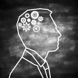 Brainstorm concept. Abstract man outline with cogwheel brain on chalkboard background. Brainstorm concept. 3D Rendering Royalty Free Stock Photography