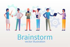Brainstorm concept, business meeting. stock illustration