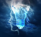 Brainstorm Concept. Brainstorm creative idea concept or brainstorming symbol as a lightning bolt from the sky shaped as a human head with a lightbulb image as a Stock Images