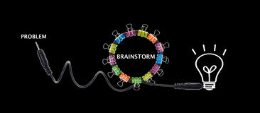 Brainstorm concept creative modern design,business concept. Brainstorm concept creative modern design on black background,business concept Royalty Free Stock Image