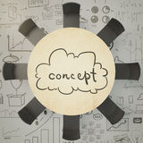 Brainstorm concept with round wooden table and eight balck chair Royalty Free Stock Photo