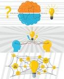 Brainstorm creative banner concept set, flat style royalty free illustration