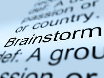 Brainstorm Definition Closeup Showing Research Thoughts Royalty Free Stock Images