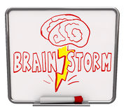 Brainstorm - Dry Erase Board with Red Marker. A white dry erase board with red marker, with the word Brainstorm drawn with a brain and lightning bolt