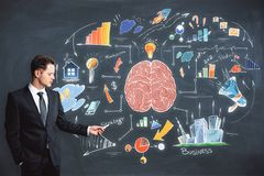 Brainstorm, education and achievement concept. Handsome caucasian businessman drawing business brain sketch on chalkboard background. Brainstorm, education and Royalty Free Stock Images