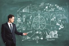 Brainstorm, education and seminar concept. Handsome caucasian businessman drawing business brain sketch on chalkboard background. Brainstorm, education and Royalty Free Stock Image