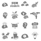 Brainstorm Flat Icons Set. Set of flat monochrome brainstorm icons with brains lightbulbs ideas and other abstract elements Stock Photography