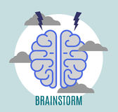 Brainstorm. Flat illustration that means research of ideas Royalty Free Stock Photos