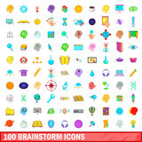 100 brainstorm icons set, cartoon style. 100 brainstorm icons set in cartoon style for any design vector illustration stock illustration