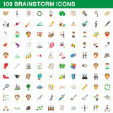 100 brainstorm icons set, cartoon style. 100 brainstorm icons set in cartoon style for any design vector illustration Stock Photography