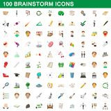 100 brainstorm icons set, cartoon style. 100 brainstorm icons set in cartoon style for any design illustration vector illustration