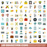 100 brainstorm icons set, flat style. 100 brainstorm icons set in flat style for any design vector illustration Stock Image