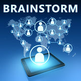 Brainstorm. Illustration with tablet computer on blue background Royalty Free Stock Photo