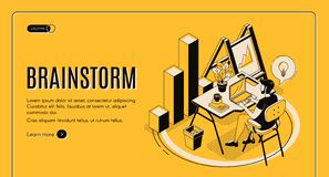 Brainstorm isometric landing page, online service vector illustration