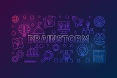 Brainstorm konturu kolorowa horyzontalna wektorowa ilustracja ilustracji
